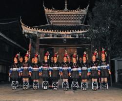 贵州省肇兴村的侗族表演者们