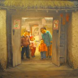 """在会议上展出的 Deng Bangzhen 画家的作品""""温馨的家庭"""""""