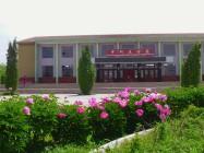 山丹培黎学校大厅前的春季花。
